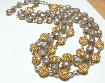 Vintage three strand faux pearl necklace with gold beads, 13.5 to 16 inches, multistrand pearl necklace, vintage gold necklace 1950s