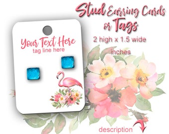 Jewelry Display Cards - Earring Cards - Flamingo Cards - Earring Display - Display Card - Jewelry Tags - Stud Earring Card - Tags - Card Set