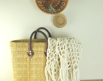 Vintage Boho Woven Wicker Beach Tote Market Basket with Leather Handles