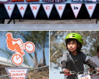Bmx Dirt Bike Birthday PRINTABLE Party Collection - You Customize EDITABLE TEXT >> Instant Download | Paper and Cake