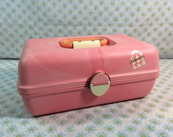 Vintage Caboodle Kit in Marbled Pink 2602 USA Made Caboodles of California