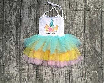 Unicorn dress, Unicorn tutu dress, Unicorn tulle skirt, girl size 2T 3T 4 5 6 7, ruffled skirt, colorful unicorn outfit, girl unicorn set