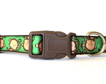 Monkey Brown and Green Dog Collar - Animal Print, Zoo, Satin, Jungle, Wild