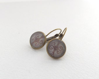 Antique Brass Leverback Earrings, Aged Brown Scroll, Glass top earrings, vintage looking, Soft Brown Bronze Earrings