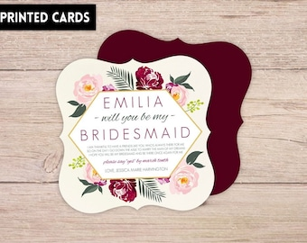 Will You Be My Bridesmaid Card, Will You be My Bridesmaid, Personalised Will You Be My Bridesmaid, Bridesmaid Card, burgundy floral