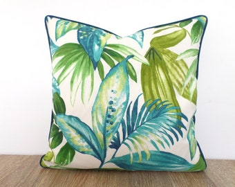 Tropical pillow cover 18x18 outdoor fabric, palm leaf pillow case beach house decor, green and teal outdoor cushion swaying palm print