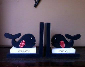 Whale bookends wooden whale nautical bookends nautical nursery whale nursery children's bookends boy's bookends personalized kid's bookends