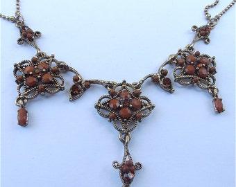 Vintage Art Nouveau Gold Necklace Brown Necklace Vintage Brown Crystal Necklace Vintage Scallop Dangling Pendants Vintage Ornate Necklace