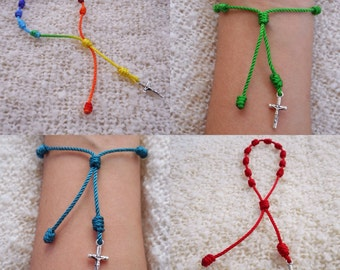 Knotted Rosary Bracelet - with Crucifix Cross w/ St Benedict- Adjustable