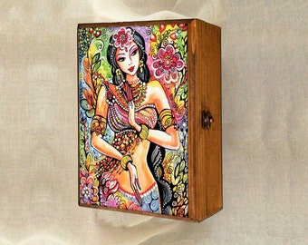 Kuan Yin, inspirational art, mermaid painting, beautiful woman, mermaid fantasy art, wooden gift box, jewelry box, 7x10