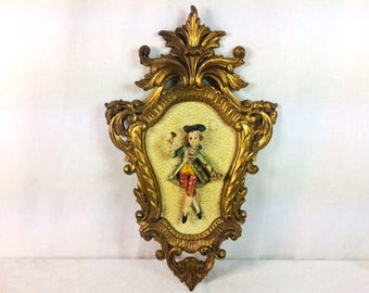 Italian Frame With Wall Figurine Rococo Style Frame Vintage Made In Italy Frame Victorian Man