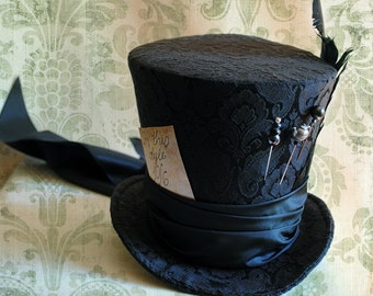 Gothic Mad Hatter Costume Top Hat,Halloween Alice in Wonderland WOMEN's Top Hat in Black,Steampunk Tea Party Hat-Custom-Made to Order