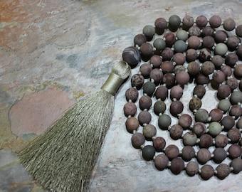 108 Mala Beads, Mala Beads 108, 108 Mala Necklace, Japa Mala Beads, Yoga Beads Necklace, Long Mala, Hand Knotted Mala, Mala for Grounding
