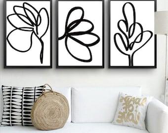 Extra Large Art Set of 3 Prints Line Art Download Prints Brush Art Leaf Print Black And White Art Simple Prints Minimalist Poster 30x40
