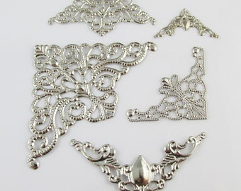 20pcs Metal Filigree Corner Embellishments Silver Craft Cards Scrapbooking (CE047)