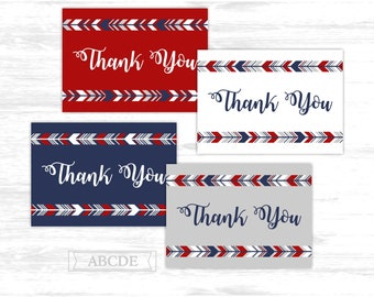 Tribal Thank You cards Red Navy Woodland Deer arrows Party Thank You cards Thank You notes Birthday party Baby shower (PDWSI521)