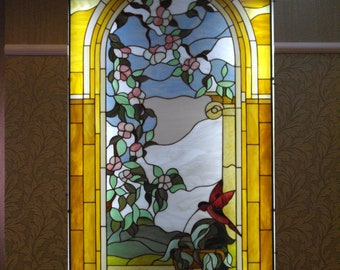 Large Contemporary Stained Glass, Window transom, Panel window, Clear Textures, Stain glass transom, Large Stain Glass, Window dressing
