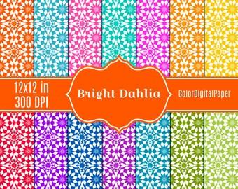 Bright Dahlia Paper Birtday Party Digital Paper, Commercial Use Bright Printable Scrapbook Paper, Instant Download, Rainbow, Vivid Dahlia