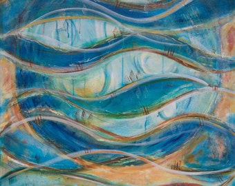 Flowing waves abstract acrylic art painting print, blue ocean and moon print, intuitive art print