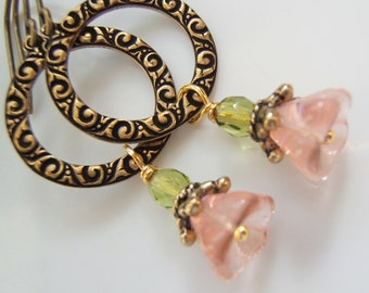 Earrings - Sweet Little Etched Brass with Pink Flower Dangles