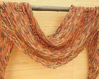 Knitted shawl wrap, lace shawl, extra fine merino wool shawl, orange semi circle shawl, gift for her, women accessory, hand knit scarf