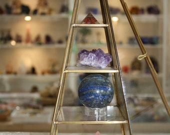 Brass Pyramid Jewelry, Crystal Display Piece