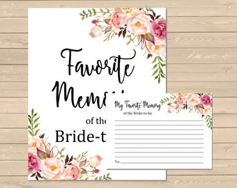 Boho Favorite Memories of the Bride to Be Activity, Printable Floral Bridal Memory Activity, Boho Floral Memory Game, Instant Download 110-W