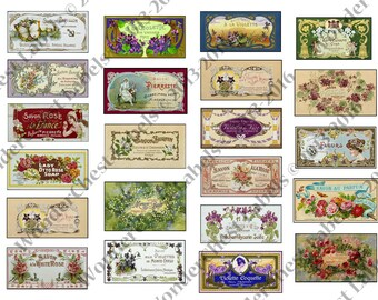 Vintage printable soap labels  set of 22 -  collage sheet, decoupage paper, French and English labels, scrapbooking collage