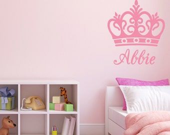 Personalised Name Crown Wall Sticker - Girl bedroom name sticker / decal