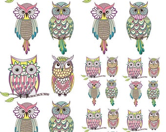 Owl Clan - Ceramic Decals- Enamel Decal - Fusible Decal - Glass Fusing Decal ~ Waterslide Decal - 141716L
