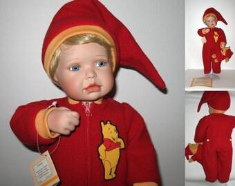 """New in Box Ashton Drake Disney 'Time for Bed Pooh"""" Porcelain Doll & Teddy Bear COA MINT!"""