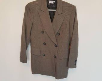 Vintage Wool Donna Karan Double Breasted Plaid Blazer Sz 2 xs