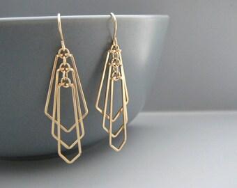 Gold Art Deco Fan Earrings - minimalist geometric wedding jewelry, engineer or math teacher gift - Tiered Fan