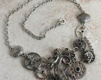 Clockwork Kraken in Mixed Silvers Steampunk Bib Necklace