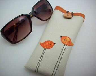 Eyeglass or Sunglass case in cream with orange birds