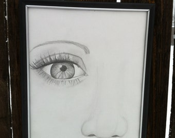 Original 12X9 Pencil drawing on paper, Eyes are the window to the soul, Eye drawing handmade art, original pencil drawing