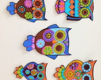 SALE*Set of Five Owl Appliques*Handmade*Alice Kennedy Fabric/261