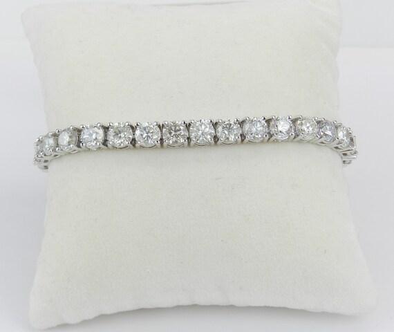 18K White Gold 16.54 ct Diamond Tennis Bracelet Traditional Prong Set