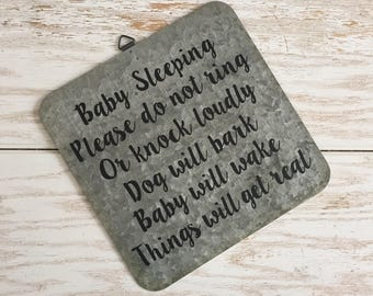 Baby Sleeping Do Not Knock or Ring Sign on Galvanized Metal No Soliciting Do Not Disturb Quiet Please Baby Sleeping Nap Time No Solicitation