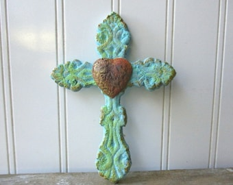 Cast iron heart cross faux verdigris wall hanging 6 inch metal cross aqua turquoise rusty Spiritual Christian Rustic decor small cross SA5