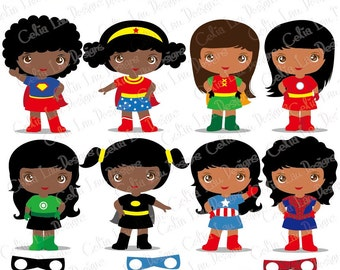 Superheroes, Girls Superhero clip art, Supergirl clipart, African american, Indian ,  Superhero costume, Superhero School Decorations (S023)