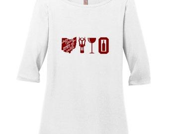 Wine Ohio Women's 3/4 Length T-Shirt