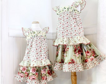 Floral Rose Little Girl's Outfit Twirl Skirt Moss Green Spring Boho Girl Clothes Girls Skirt Ruffled Top Set Girls Outfit Size 2T 3T 4 5 6