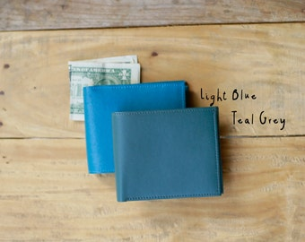 Mens Wallet With Coin Pocket, Blue Wallet, Bifold Wallet, Monogram Wallet, Custom Wallet, Personalized Gift, Gift For Him, Minimalist Wallet
