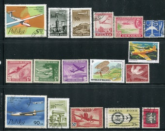 Airplane  Stamps / Aircraft Stamps /25 Vintage Used & Unused Airplane Stamps