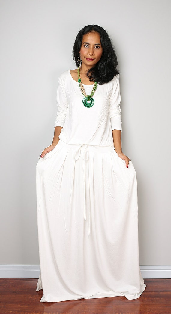 Plus Size Dress Off White Maxi Dress Long Sleeve Dress
