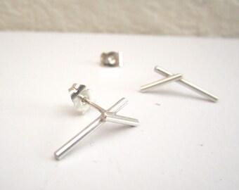 Small Silver Earrings Lines minimal earrings minimalist