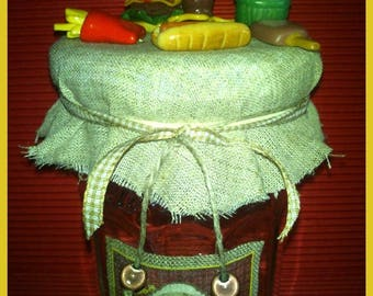 Fast food polymer clay decoration jam jar