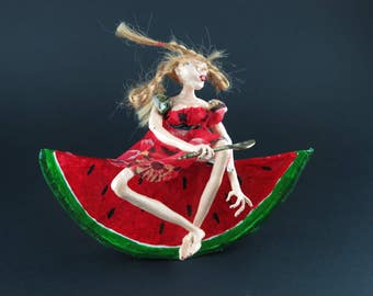 SALE! Art doll Pippy on the watermelon!