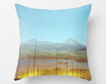 throw pillow cover decorative pillow cover surreal photo pillow accent pillow golden sunset mountain landscape. turquoise blue rustic decor.